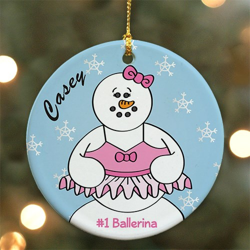Personalized Ceramic Ballerina Snowman Ornament U449710