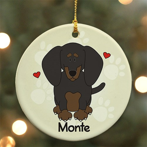 Personalized Ceramic Loved By My Dachshund Ornament U452810