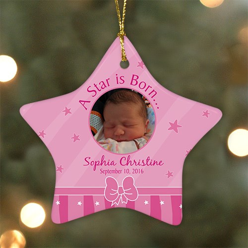 Personalized Ceramic Star New Baby Girl Photo Ornament U464726