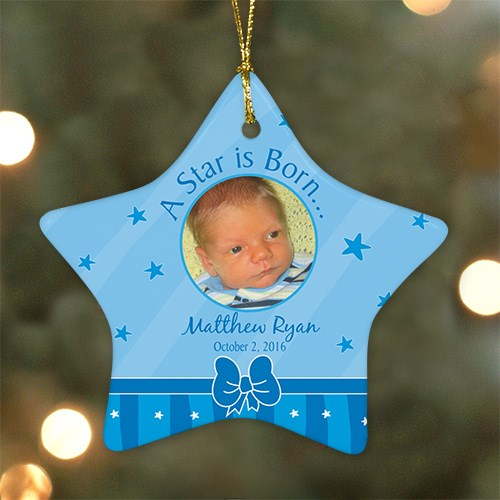 Personalized Ceramic Star New Baby Boy Ornament U464826