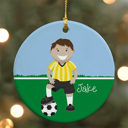 Personalized Ceramic Boy Soccer Ornament U721710