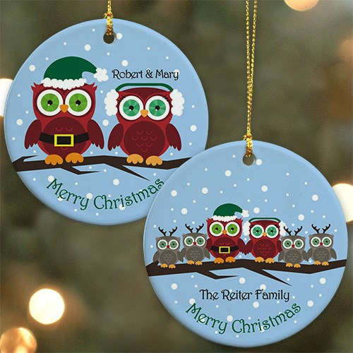 Personalized Ceramic Owl Family Ornament U723610