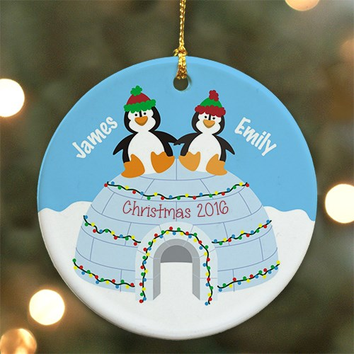 Personalized Ceramic Penguin Couple Ornament U724510