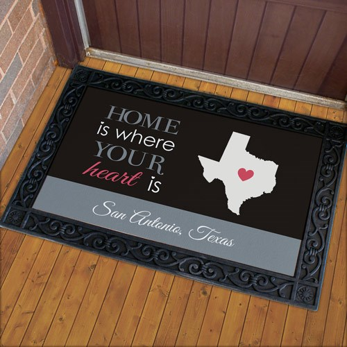 Personalized Where Your Heart Is Doormat U939183X