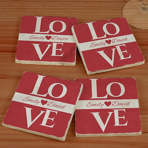Love Personalized Marble Coasters U981986