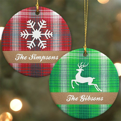 Personalized Plaid Christmas Ornament U984910
