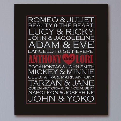 Personalized Famous Couples Wall Canvas | Personalized Valentines Canvas Prints