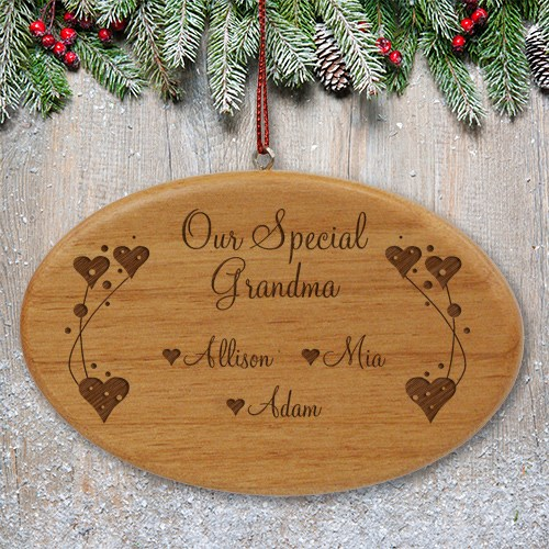 Engraved Grandma Wooden Oval Ornament W28152