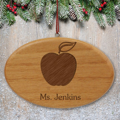 Engraved Teacher Wooden Oval Ornament W30362
