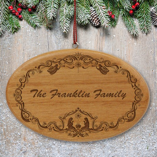 Engraved Family Nativity Christmas Wooden Oval Ornament W45152