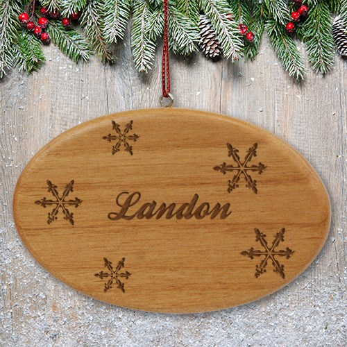 Engraved Snowflakes Wooden Oval Ornament W48792