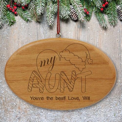 Engraved Heart My Aunt Wood Oval Ornament W48862