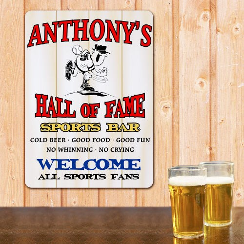 Personalized Hall of Fame Baseball Wall Sign