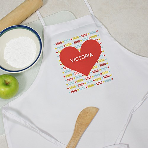 Personalized Red Heart Kids Apron Y899967