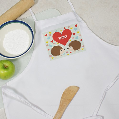 Personalized Hedgehogs Love Kids Apron Y899997