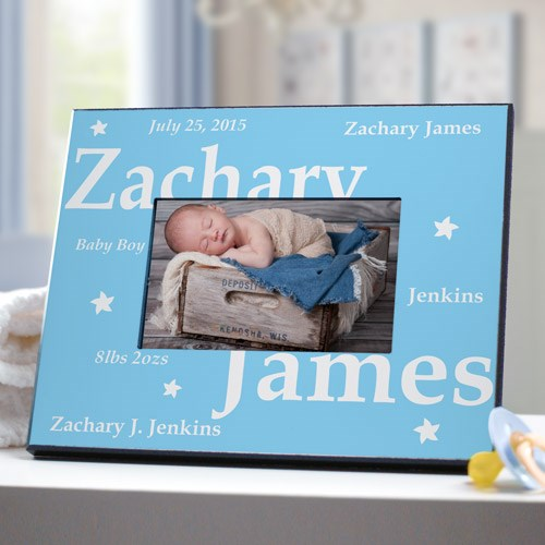 Personalized New Baby Boy Picture Frame
