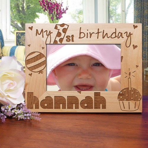 Baby Girl's 1st Birthday Wood Picture Frame