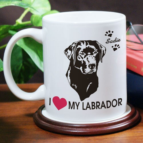 Personalized I Love My Dog Coffee Mug