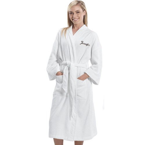 Embroidered Name White Cotton Bath Robe E00013