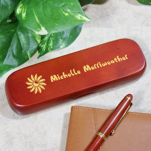 Personalized Flower Rosewood Pen Set for Her