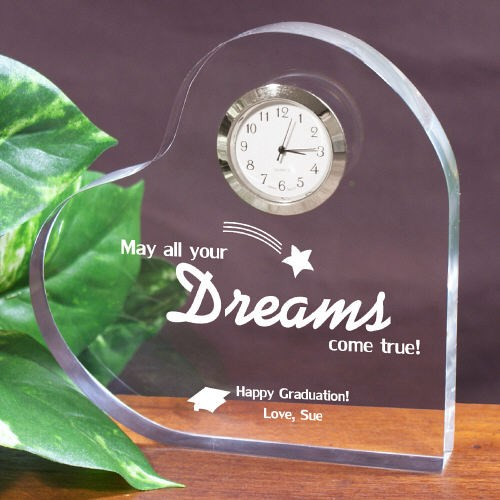 Dreams Come True Graduation Keepsake Heart Clock
