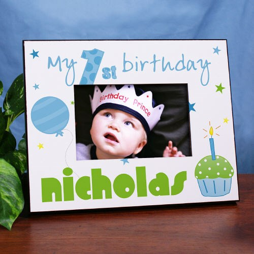 Personalized Baby Boys First Birthday Picture Frame