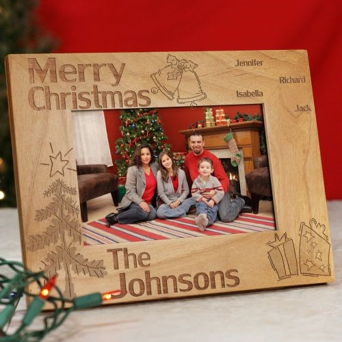 Family Christmas Personalized Wood Picture Frame