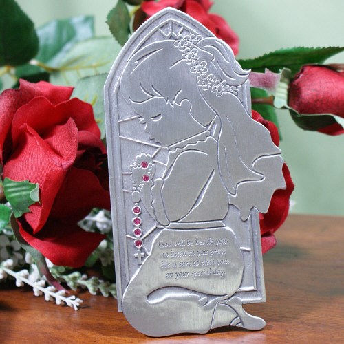 Praying Girl Personalized Communion Plaque 62004