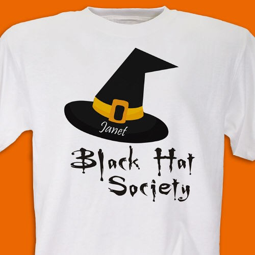 Personalized Black Hat Society Tee Shirt