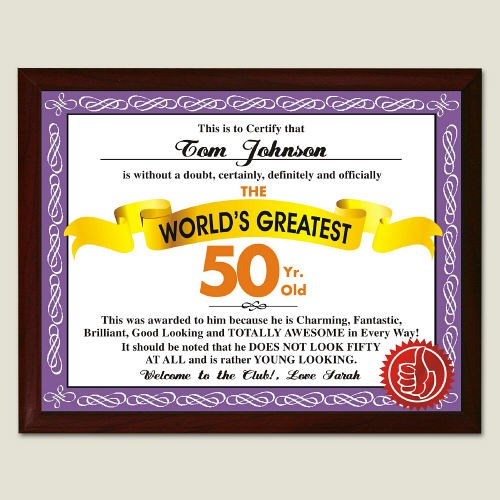World's Greatest 50th Birthday Personalized Plaque