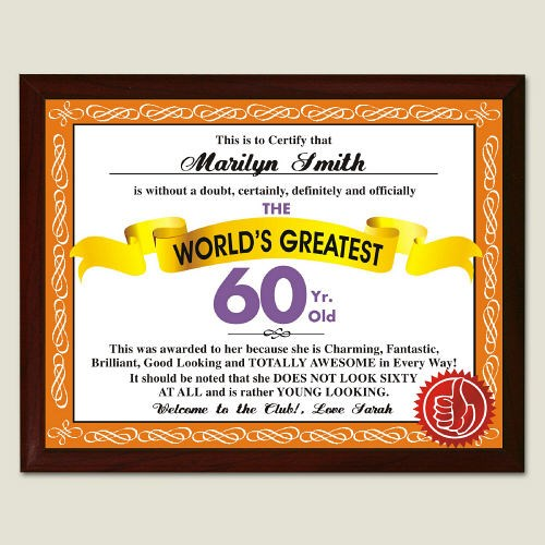 World's Greatest 60th Birthday Personalized Plaque