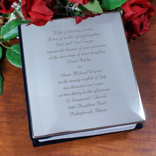 Engraved Wedding Invitation Silver Album