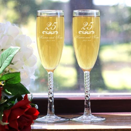 Personalized Wedding Anniversary Champagne Flutes