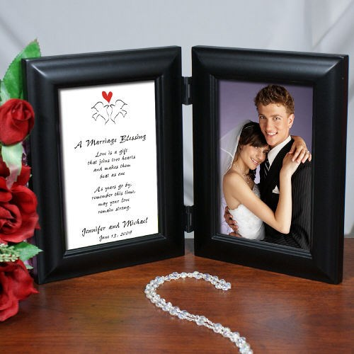Marriage Blessing Wedding Black Bi-Fold Personalized Picture Frame