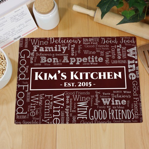 Word-Art Glass Cutting Board | Personalized Kitchen Gifts